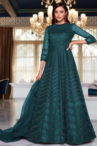 Teal Blue Net Embroidered Suit