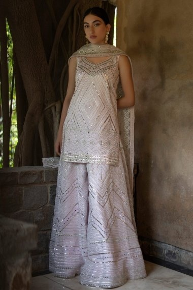 Light Pink Organza Mirror Worked Palazzo Suit