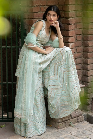Mint Green Organza Mirror Worked Palazzo Suit
