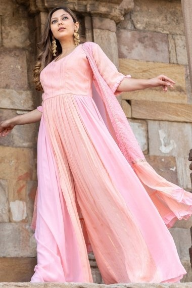 Peach and Pink Georgette Jumpsuit with Shrug