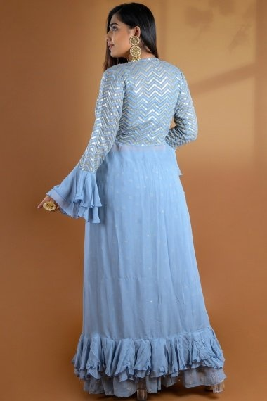 Light Blue Viscose Crop Top with Palazzo and Jacket