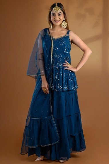 Rama Blue Georgette Embroidered Palazzo Suit