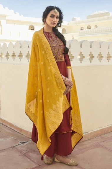 Maroon Cotton Embroidered Palazzo Suit