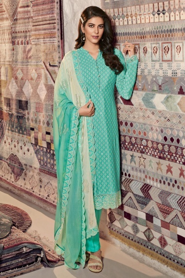 Mint Green Crepe Printed Straight Cut Suit