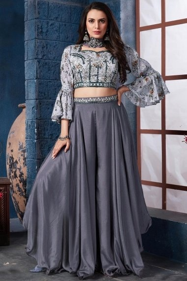 Grey Chinon Indo Western Suit