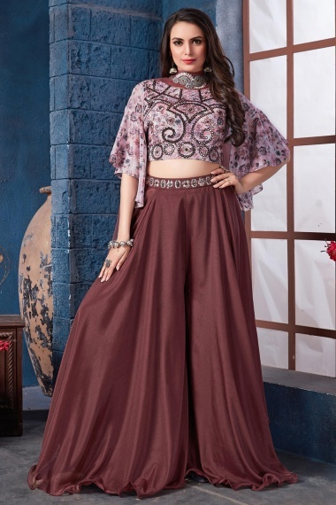 Pink Chinon Crop Top with Palazzo and Dupatta