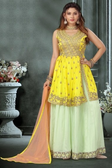 Yellow Chinon Embroidered Palazzo Suit