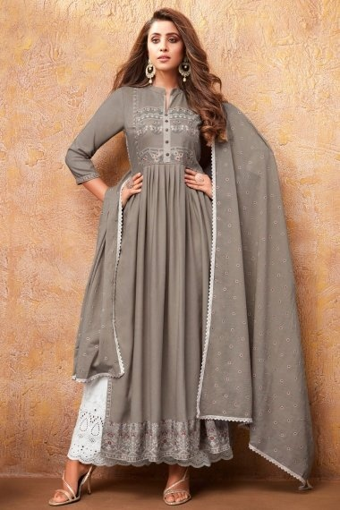 Grey Rayon Straight Cut Suit
