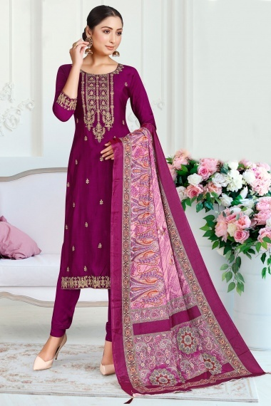 Purple Muslin Embroidered Suit