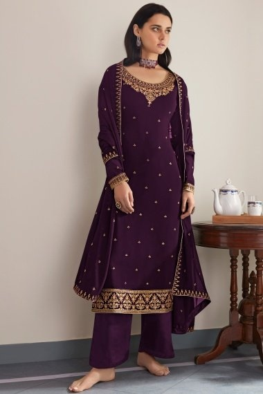 Purple Georgette Embroidered Palazzo Suit