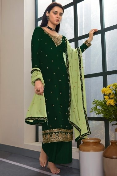 Bottle Green Georgette Embroidered Palazzo Suit