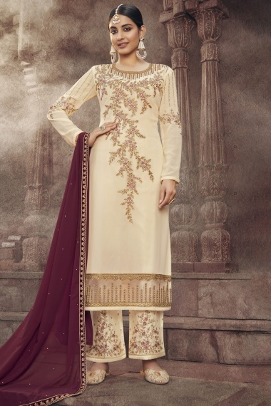 Cream Georgette Embroidered Suit