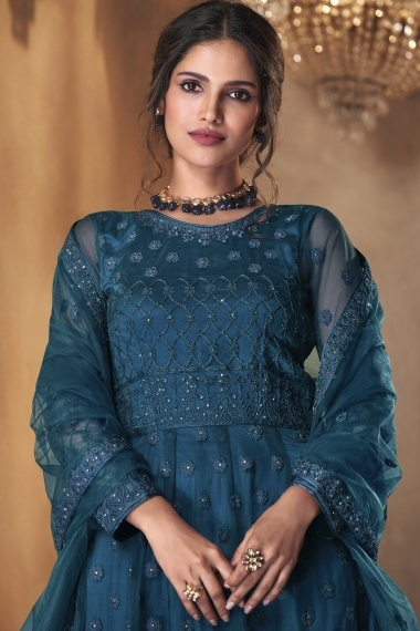 Teal Blue Net Suit with Embroidery
