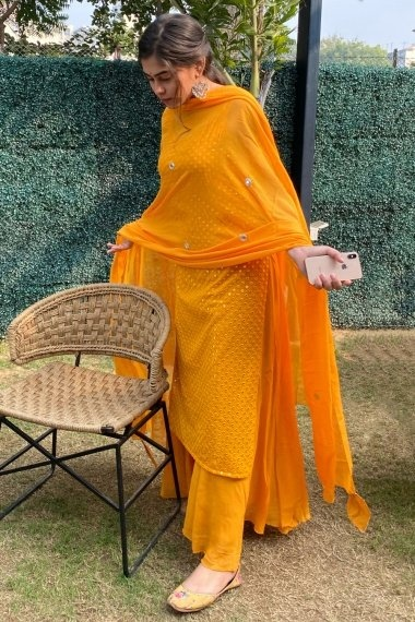 Yellow Georgette Palazzo Suit