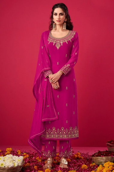 Rani Pink Georgette Embroidered Suit