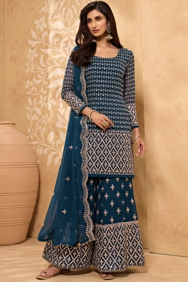 Teal Blue Georgette Applique Worked Suit