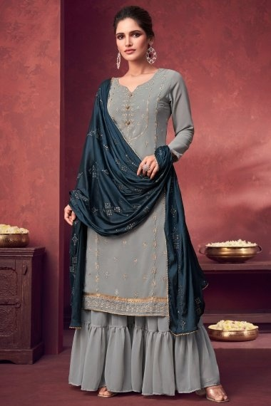 Grey Georgette Embroidered Sharara Suit
