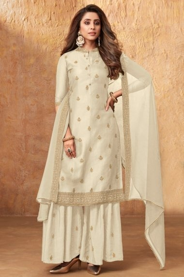 Off White Art Silk Embroidered Sharara Suit