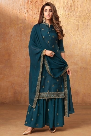 Teal Blue Art Silk Embroidered Sharara Suit