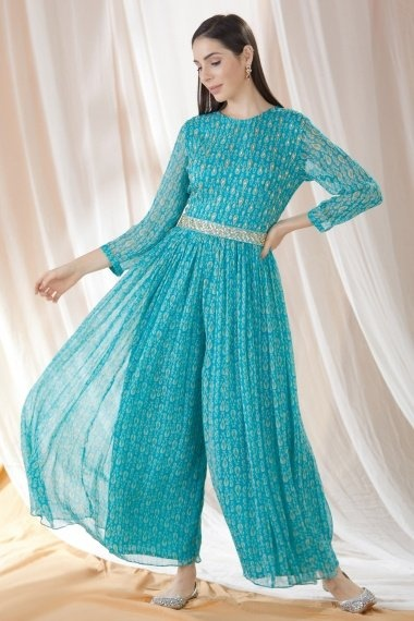 Blue Chinon Jump Suit with Belt