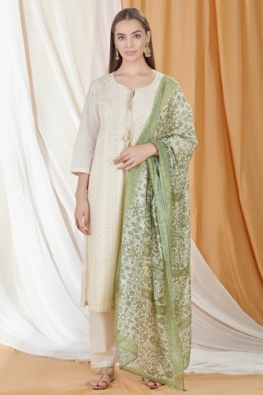 Off White Chanderi Laser Cut Embroidered Suit