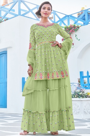 Moss Green Georgette Applique Worked Suit