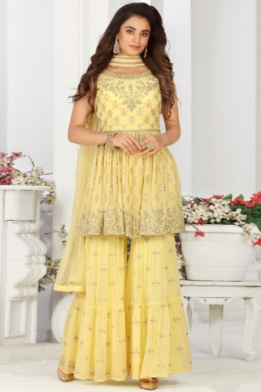 Light Yellow Georgette Sharara Suit with Embroidery