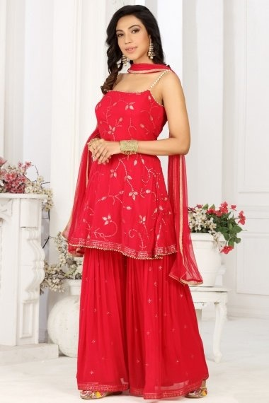Red Georgette Sharara Suit with Sequins Work
