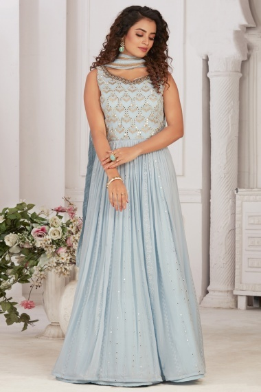 Light Blue Georgette Suit with Mirror Work