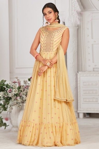 Yellow Georgette Suit with Embroidery