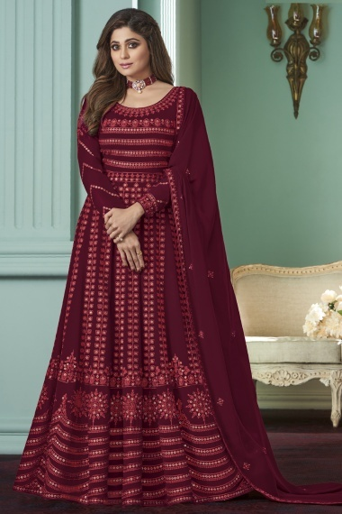 Shamita Shetty Maroon Georgette Embroidered Suit