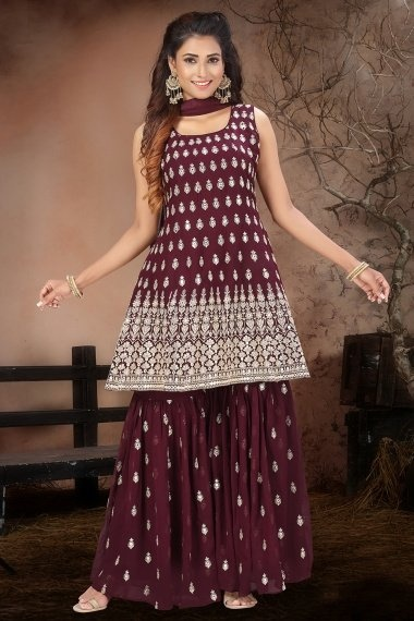 Maroon Georgette Embroidered Sharara Suit