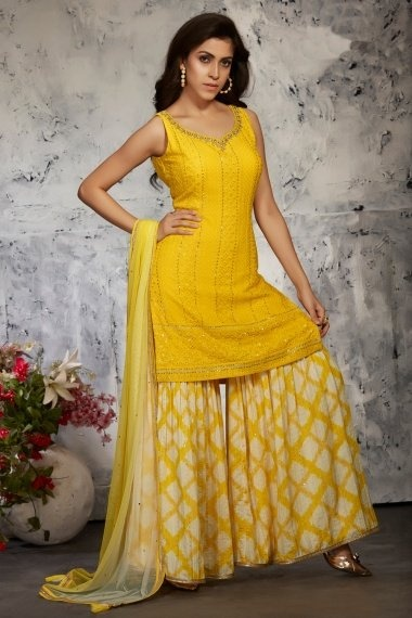 Yellow Georgette Sharara Suit