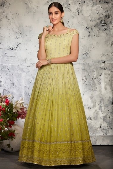Green Shaded Georgette Suit