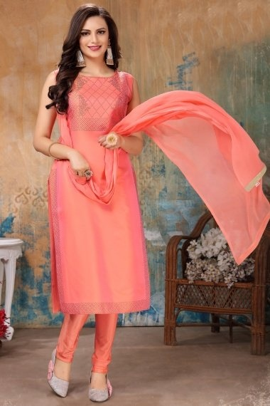 Coral Pink Satin Taffeta Suit with Stone