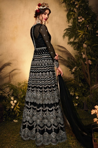 Black Net All Over Embroidered Suit