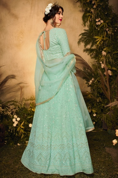 Mint Green Georgette Embroidered Suit
