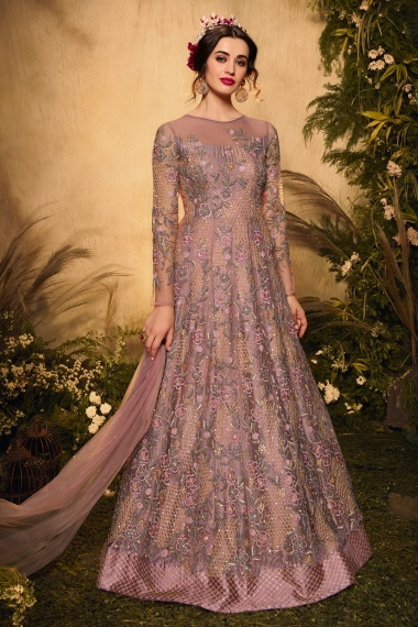 Dusty Pink Net All Over Embroidered Suit