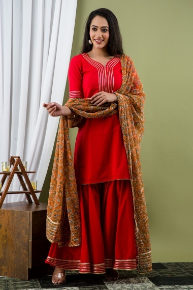 Red Cotton Sharara Suit with Gota Work