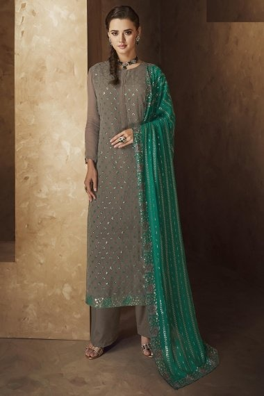 Grey Georgette Checks Embroidered Suit