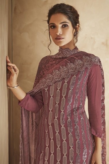 Dusty Pink Georgette Sequins Worked Suit