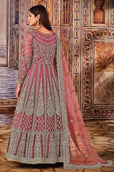Dusty Pink Net Dori Embroidered Suit
