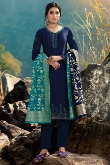 Blue Georgette Satin Stone Worked Suit