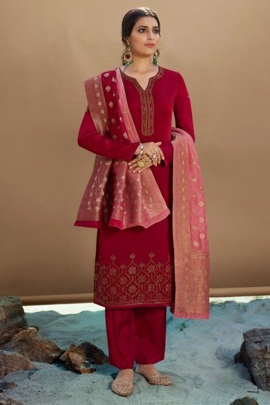 Red Georgette Satin Straight Cut Suit