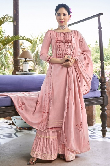 Pink Cotton Sharara Suit with Embroidery