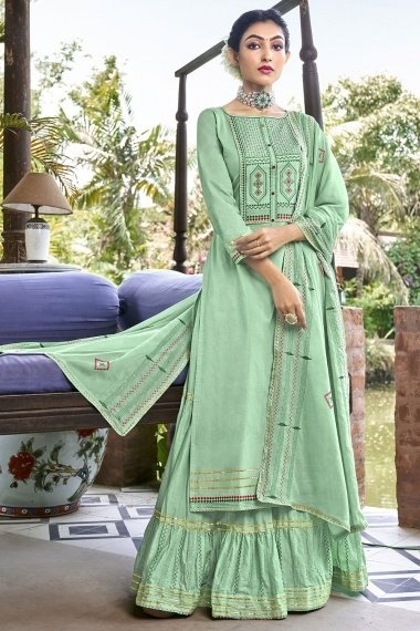 Pista Green Cotton Sharara Suit with Embroidery