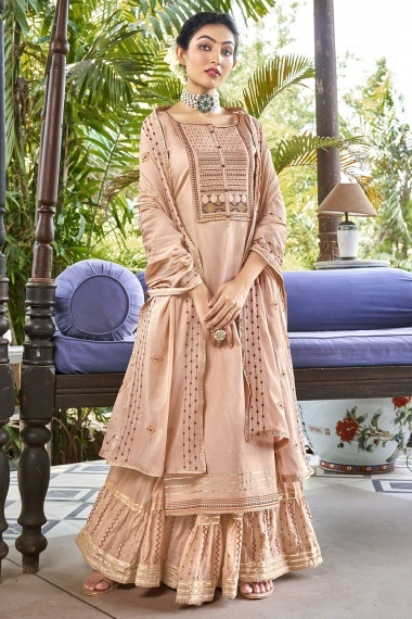 Peach Cotton Sharara Suit with Embroidery