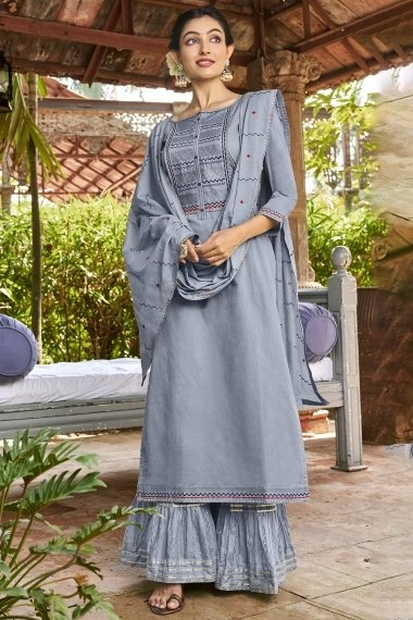 Light Grey Cotton Sharara Suit with Embroidery