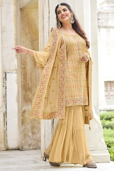 Beige Georgette Embroidered Sharara Suit