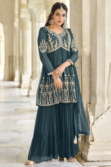 Rama Green Georgette Embroidered Sharara Suit